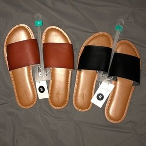 Brown and Black Sandals. (Both Pairs)